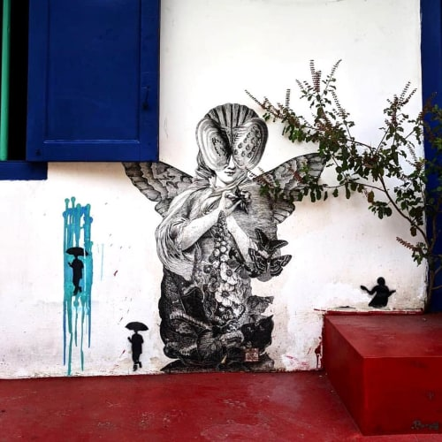 Street Murals by Made of Hagop seen at Fort Kochi Beach, Kochi - Meta