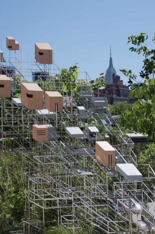 """Public Sculptures by Amuneal seen at The High Line, New York - """"Still Life with Landscape"""" installation"""