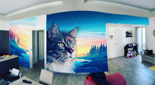 Murals by SteReal seen at Private Residence, Milan - Cat mural
