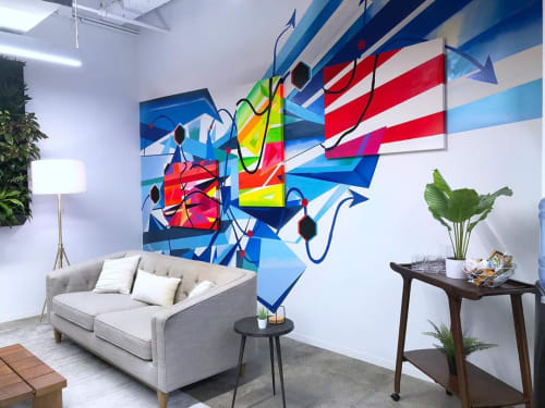 Murals by MURT seen at Celonis Inc., New York - Mural (company colors & logo)