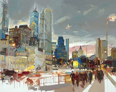 "Art & Wall Decor by YJ Contemporary seen at East Greenwich, East Greenwich - Josef Kote ""Skyline At Night"""