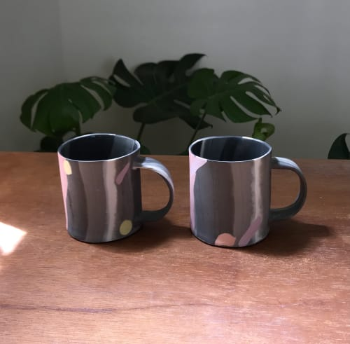 Cups by Renee's Ceramics seen at Private Residence, Tainan - Slab-built porcelain mug with black and other colors.
