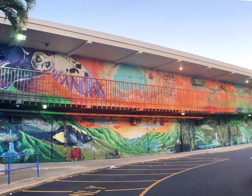 "Murals by Mele Murals seen at Aliamanu Middle School, Honolulu - ""Mo'oanalua"" - Aliamanu Middle School"