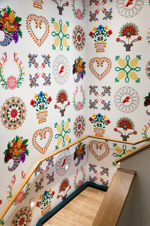 Wallpaper by Cassandra C. Jones seen at Hotel Revival Baltimore, Baltimore - True Stories