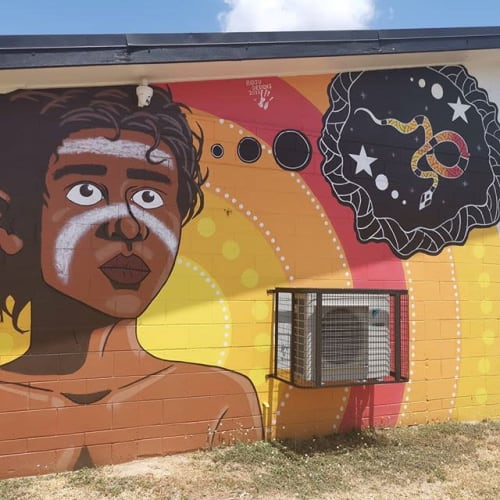 Street Murals by Bidju Designs seen at 16 Village Blvd, Thuringowa Central - Boy Dreaming