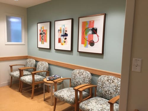 Paintings by Mary Zeran seen at Newton-Wellesley Hospital, Newton - Painting Installation at Newton-Wellesley Hospital