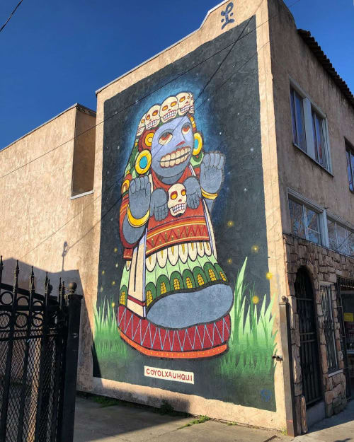 "Street Murals by Last Ones Studio seen at Rutherford Street, Oakland - ""COYOLXAUHQUI 2"" Mural"