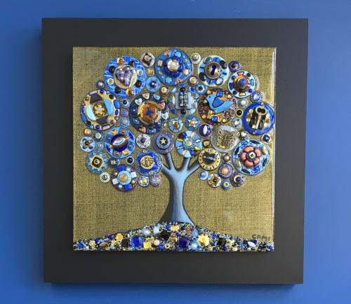 "Art & Wall Decor by Cami Levin seen at Creator's Studio, Dana Point - ""Dreams of Cobalt"" - 16x16x2"" - Tree of Love series"