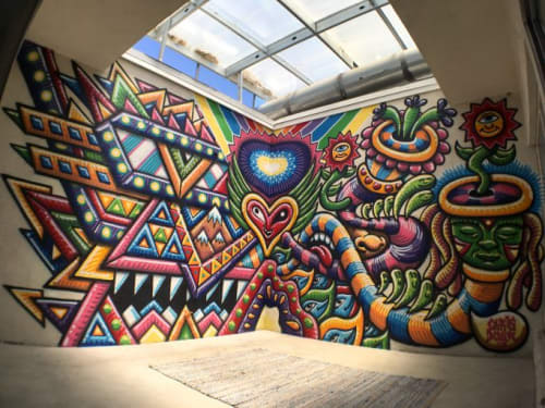 Murals by Chris Dyer seen at Private Residence, Los Angeles - Patio Portal