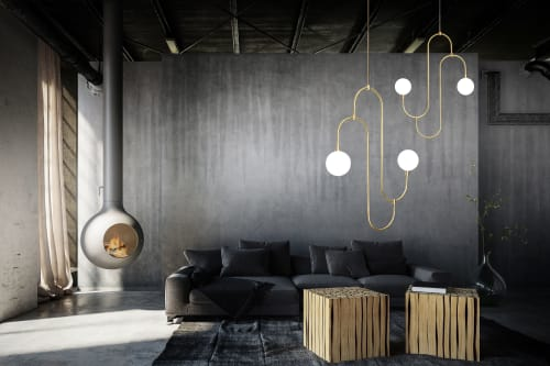 Pendants by Marc Wood Studio seen at Private Residence, New York - Jack and Jill pendant