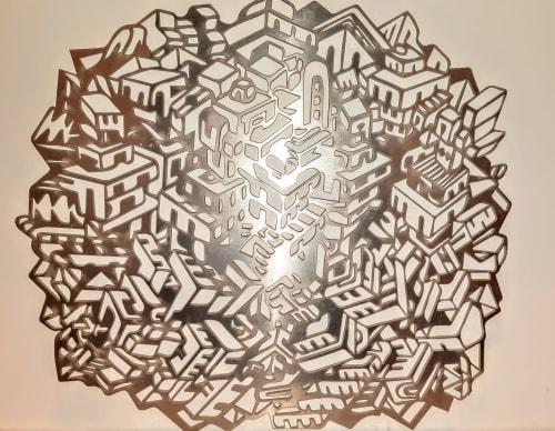 labyrinth city | Wall Hangings by Paul Santoleri | Fox School of Business in Philadelphia