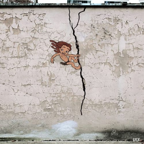 Street Murals by EFIX seen at Paris, Paris - Tarzan