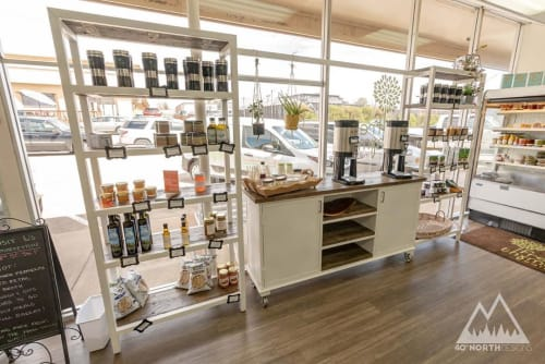 Furniture by 40 North Designs seen at Fresh Thymes Marketplace, Boulder - Shelving Units