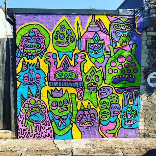Murals by daisyattack! seen at Private Residence, Newtown - Monster School Photo