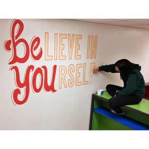 Murals by Two Brushes seen at Head O'Meadow Elementary School, Newtown - Believe in Yourself