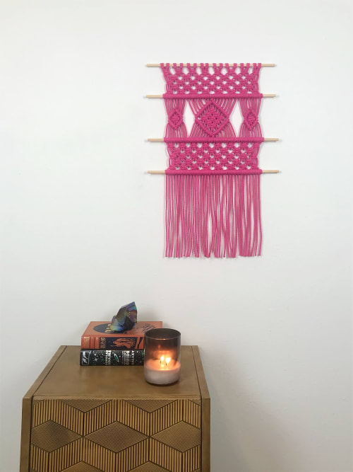 Macrame Wall Hanging by Cosmic String Fiber Art seen at Private Residence, St. Louis - Bright Pink Macramé Wall Hanging - Fuchsia Bohemian Tapestry