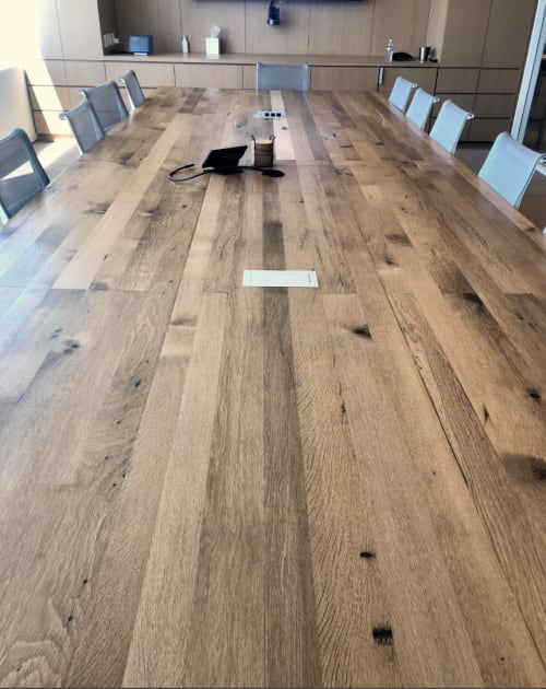 Tables by Urban Wood Goods seen at Santa Monica, Santa Monica - Reclaimed Wood Conference Table or Dining Table