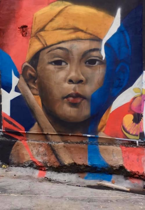 Street Murals by Dnztwo seen at Jalan Raya Andong - Bali aga