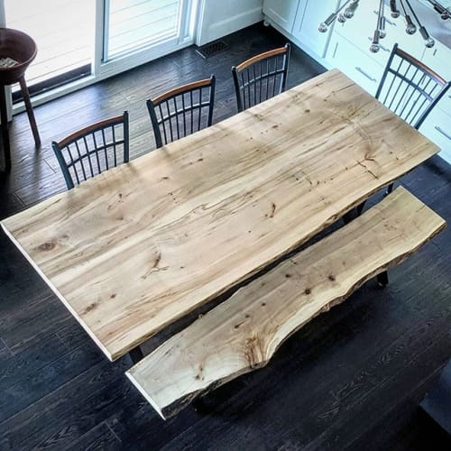 Fine Live Edge Maple Harvest Table And Bench By Barnboardstore Alphanode Cool Chair Designs And Ideas Alphanodeonline