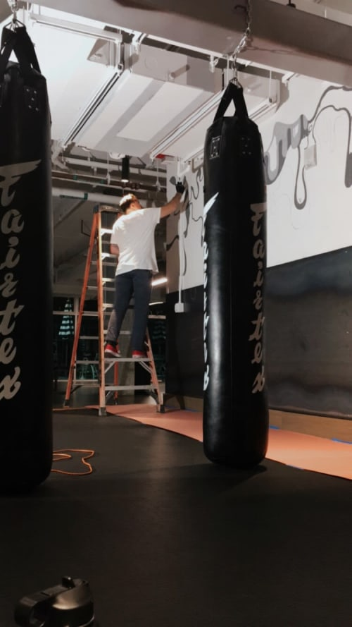 Murals by Cory Schnitzer seen at Fit Athletic Club & Gym, San Diego - Boxing Drips