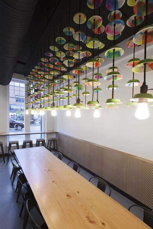 Chandeliers by Taka Sudo seen at Peaked Pies, Vancouver - Pie Tin Chandeliers