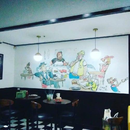 Murals by David Coley Art seen at Deli News N.Y. Style Deli Restaurant, Frisco - Indoor Mural