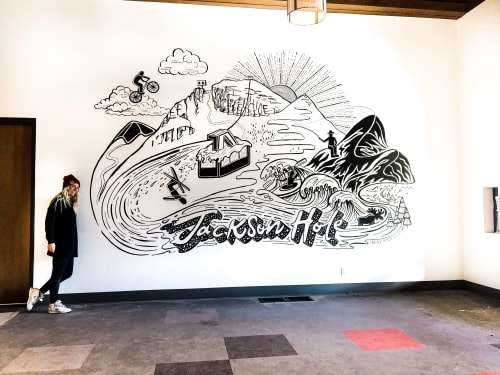 Murals by Haley Badenhop seen at Jackson Hole Mountain Resort, Teton Village - Jackson Hole Ski Mural