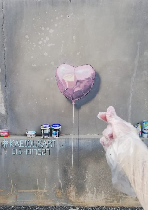 Murals by Kaeious Art seen at Private Residence, Lahat - Love & Romance 3D Hyper Realistic Balloon Mural Drawing  ❤️ 3D 愛心氣球壁畫 怡保壁畫 ❤️
