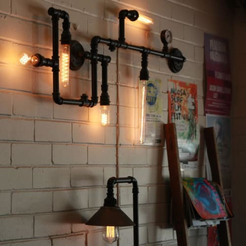 Lighting by Edison Light Globes seen at Fratellini, Sunshine Beach - Plumbing Pipe 5 Bulb Wall Feature