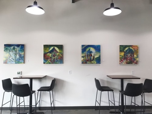 Paintings by Sri Whipple seen at Maud's Cafe, Salt Lake City - Series of Paintings