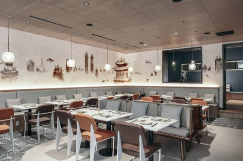 Murals by Amber Ma seen at 山海 Atlas Kitchen, New York - The New Classic of Mountains and Sea""