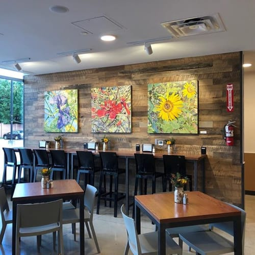 Paintings by Malou Flato seen at Central Market, Dallas - Primary Flowers
