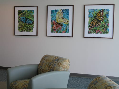 Paintings by Eileen Downes seen at St. Joseph's Medical Center, Stockton - Giant Butterflies Series