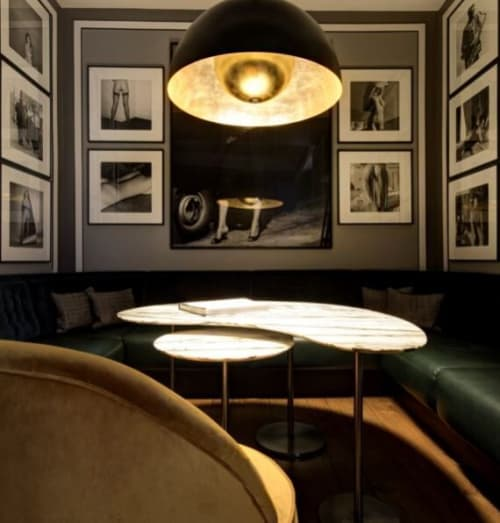 Pendants by Brass Brothers & Co. seen at The Donovan Bar, London - Sound Light1 large ceiling lamp with gold leaf and bluetooth speakers