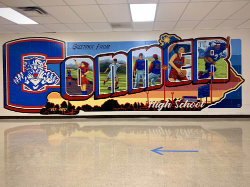 Murals by Christian Dallas Art seen at Conner High School, Hebron - Greetings from Conner High School
