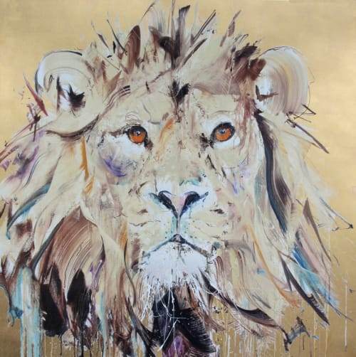 Paintings by Dave White seen at Private Residence, London - Lion II Gold Leaf Silkscreen