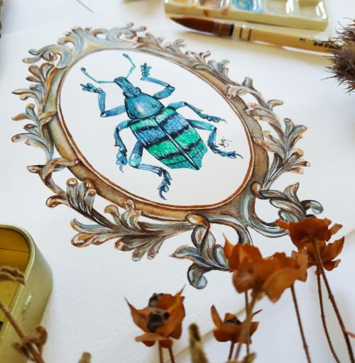 Art Curation by Nussay watercolor seen at Seville, Seville - Vintage weevil bug