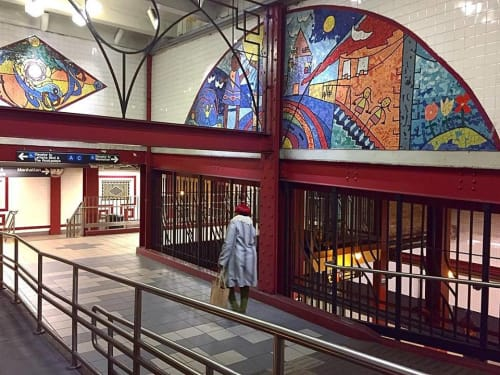Murals by Jimmy James Greene seen at Utica Avenue Subway Station, Brooklyn - Children's Cathedral