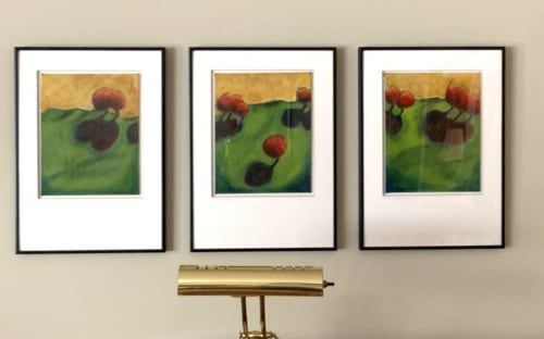 Paintings by Emily Williams-Wheeler seen at Private Residence, Minnetonka - Red Hot Lollipop Trees (triptych)