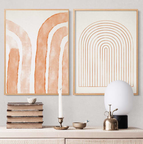 Paintings by forn Studio by Anna Pepe seen at Private Residence, New York - Set of 2 abstract prints