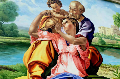 Murals by Murals by Georgeta (Fondos) seen at Private Residence, Palm Beach - Residential Mural - Michelangelo Doni Tondo in a French Baroque Landscape Setting