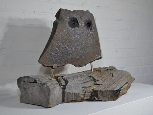 Sculptures by Barry Namm Art seen at Creator's Studio, Hurley - A Caruja (The Owl)