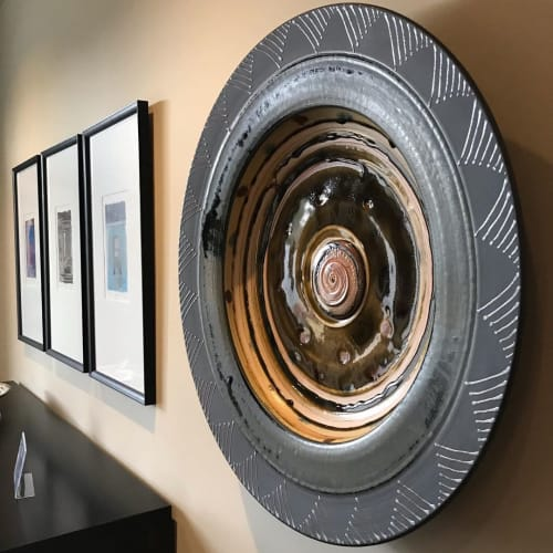 Ceramic Plates by Peter Flanagan seen at Private Residence, Peachland - Large-Scale Ash Glaze Porcelain Plate