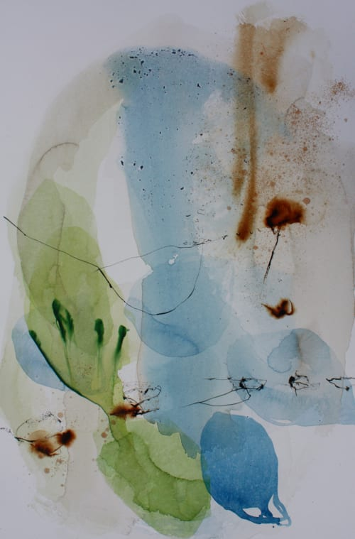 """Paintings by Ana Zanic at TOWN Studio, Denver - """"Impromptu"""", abstract watercolors on wooden panels"""