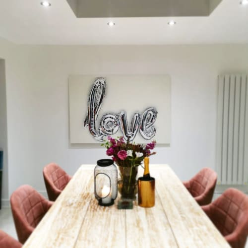 Paintings by Carla James seen at Private Residence, Bristol - Love helium balloon painting