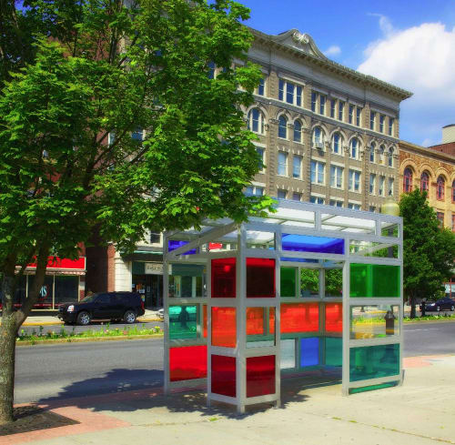 Public Sculptures by Victoria Palermo seen at Main Street, North Adams - Bus Stand