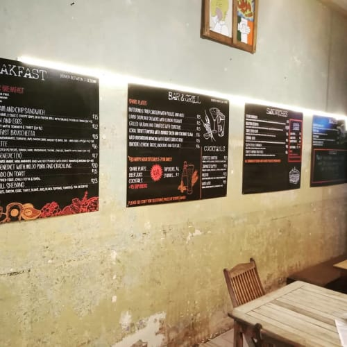 Signage by Dazigns seen at Slap and Pickle Sandwich & Tapas Bar, Cairns City - Menu Board Lettering