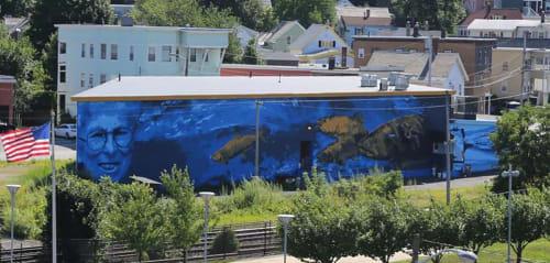 Street Murals by JALLEN Art and Design seen at Massachusetts, USA - Marion Stoddart, Nashua River Mural, 26' x 140'