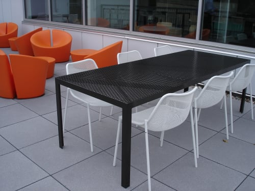 Tables by RAD Furniture seen at Harvard Business School, Boston - Perforated Dining Tables