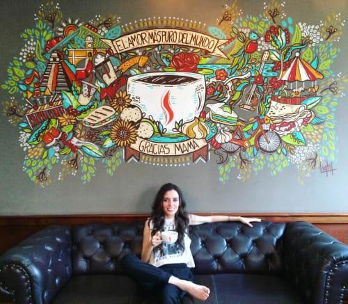 Murals by Light Andrade seen at Cafe Barista El Beneficio, Guatemala - El Amor Mas Puro Del Mundo
